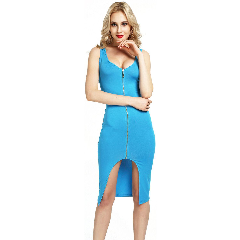 Windsor Blue L Womens Elegant Front Zip Up Contrast Work Business ...