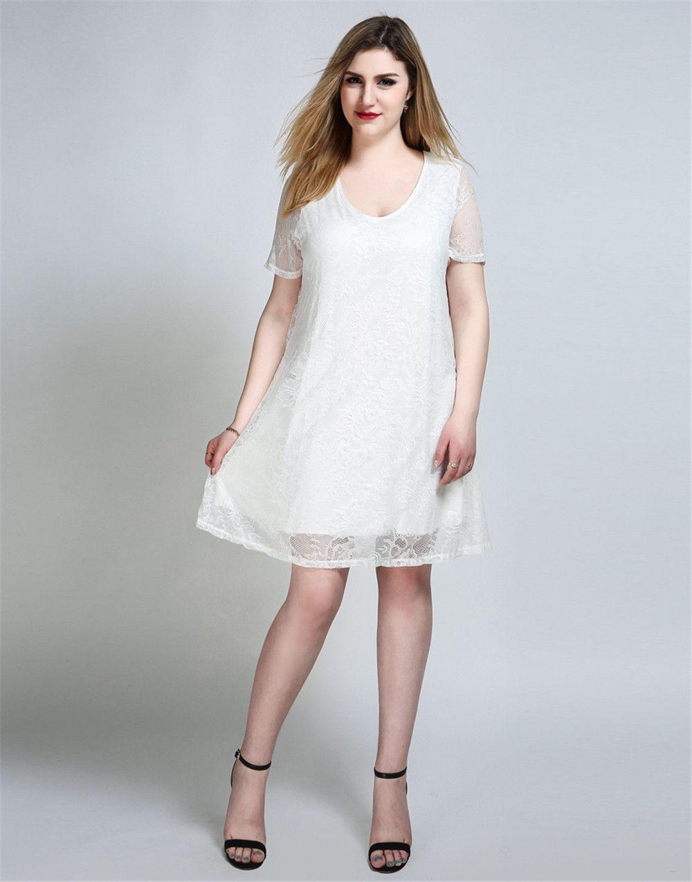 6c2bf14c07c7f [38% OFF] Cute Ann Women's Sexy V-neck Short Sleeve Plus Size Lace Swing  Dress | Rosegal