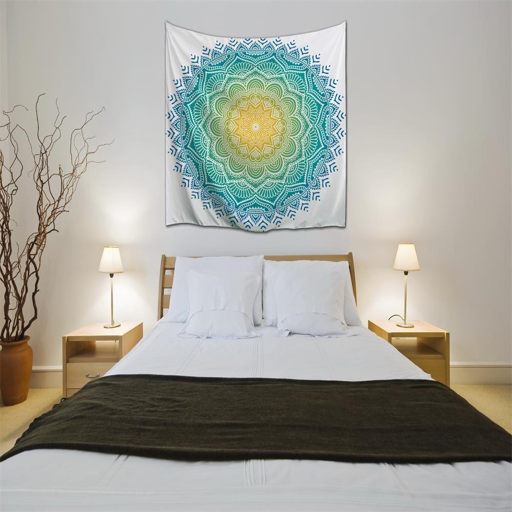 multicolore w153cmxl130cm frais bleu mandala 3d impression num rique maison tenture murale. Black Bedroom Furniture Sets. Home Design Ideas