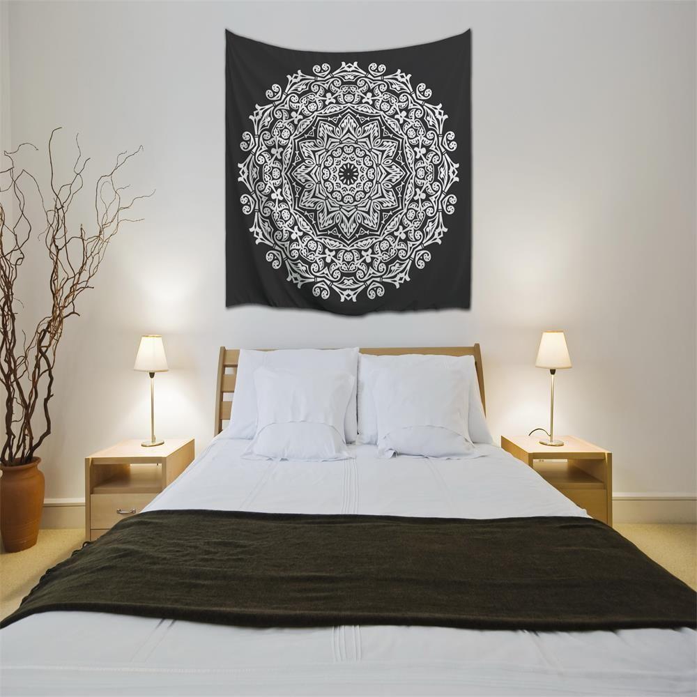 multicolore w230cmxl180cm noir et blanc mandala 3d impression num rique maison tenture murale. Black Bedroom Furniture Sets. Home Design Ideas