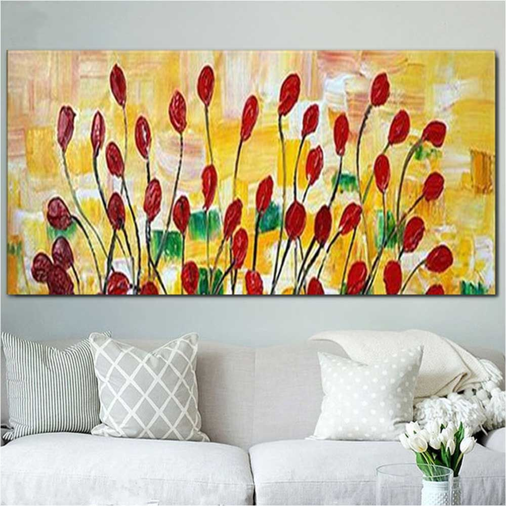 Color 24 X 48 Inch (60cm X 120cm) Pure Hand Painted Red Poppy Flower ...