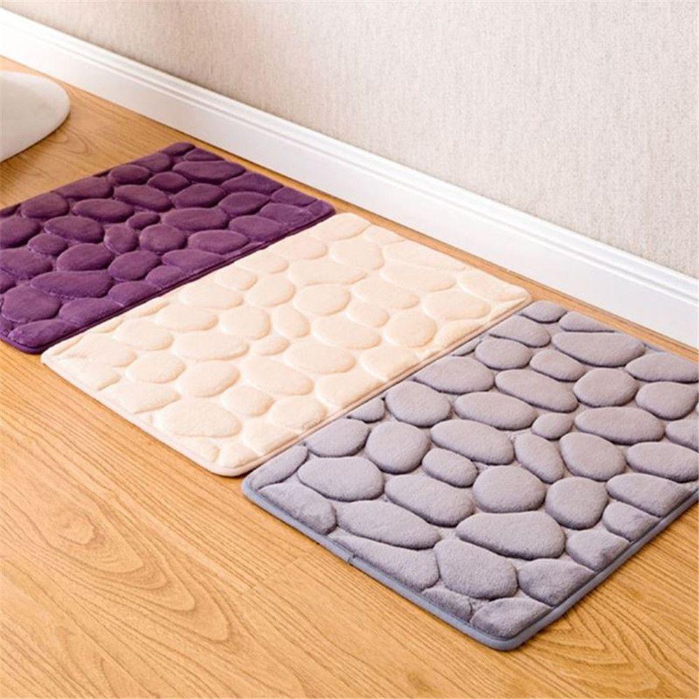 Memory Foam Bath Mat Polyester Soft Fiber Rugs Pebble Carpet Floor Mats Carpet Bathroom Door Home & Purple Memory Foam Bath Mat Polyester Soft Fiber Rugs Pebble Carpet ...