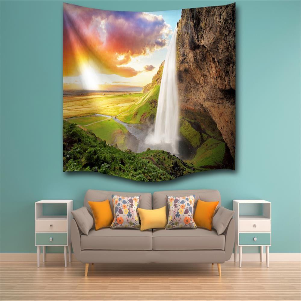 multicolore w153cmxl102cm sunshine falls3d impression num rique maison tenture murale nature art. Black Bedroom Furniture Sets. Home Design Ideas