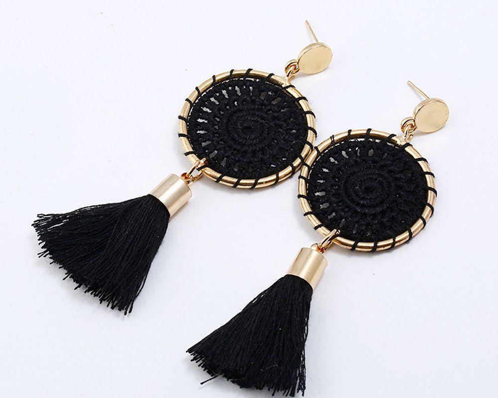 Gold Round Cotton Boho Ethnic Tel Drop Earrings Women Las 2018 Fashion Earring Bohemia Statement Vintage