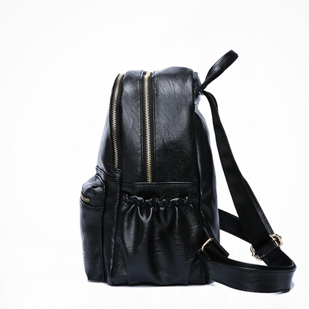 77033efd5e8e Кожаные женские рюкзаки Модные твердые школьные сумки для девочек-подростков  Большие по размеру повседневные женские