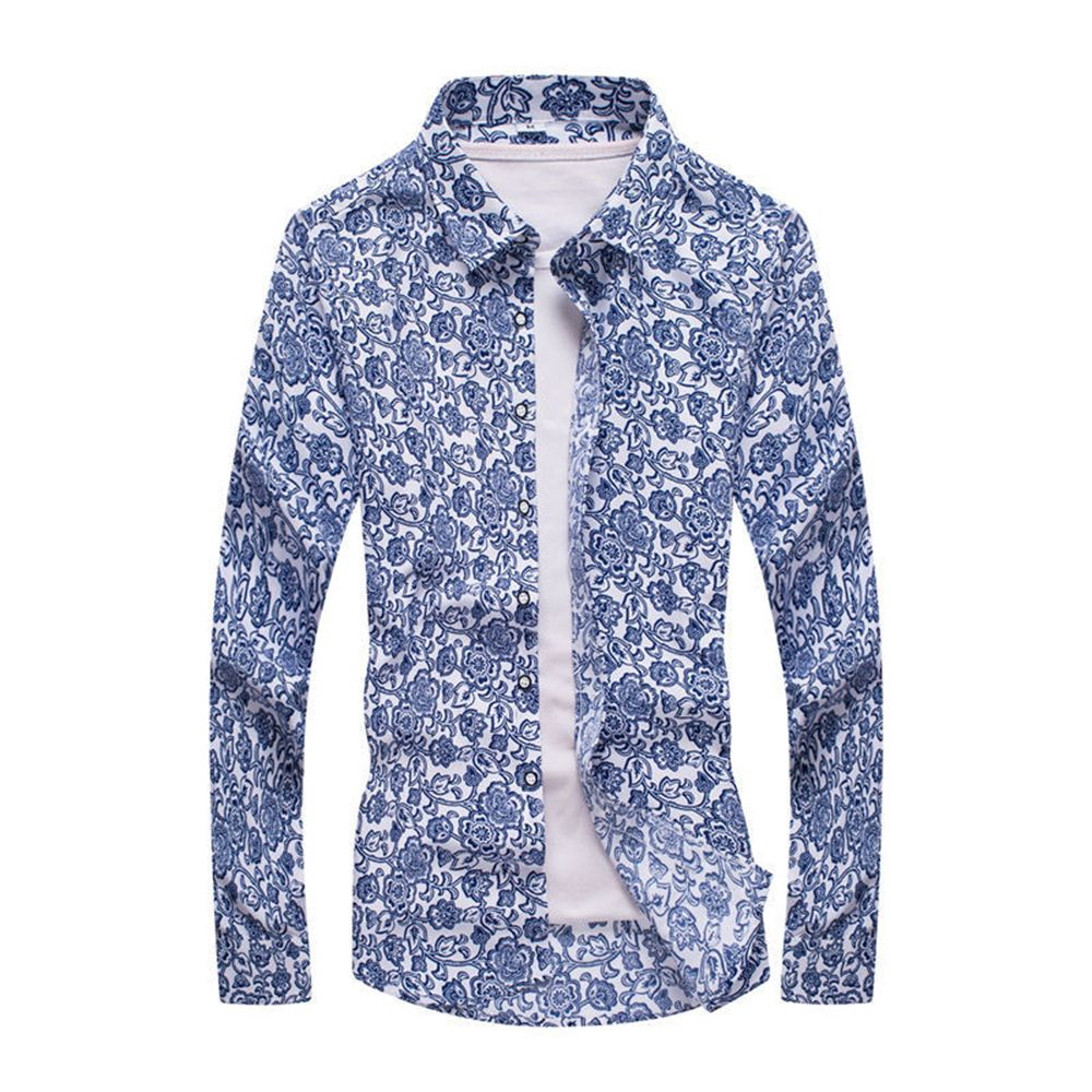 Floral l 2018 new mens long sleeve casual pure cotton plus for Mens long sleeve casual cotton shirts