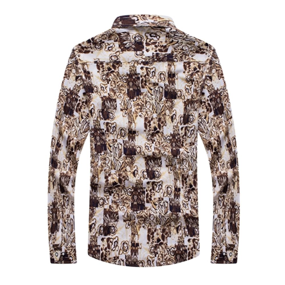 Floral l mens stylish casual button down long sleeve for Mens long sleeve casual cotton shirts