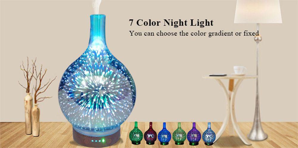 Skin Care Tool 200ml Creative 3d Led Night Light Glass Wood Grain Vase Shape Ultrasonic Essential Oil Diffuser