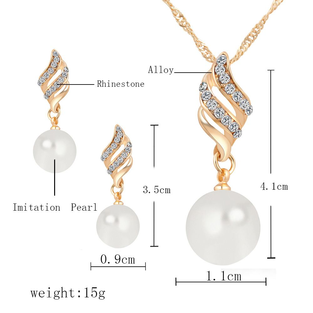 45 Off Simple And Fashion Earrings Necklace Set Rosegal