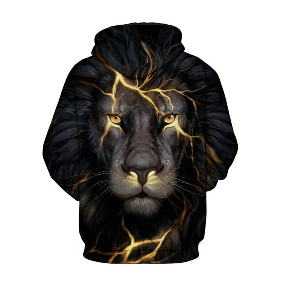 f77cbe37e35c 2019 Long Sleeve Lion Light 3d Pattern Hoodie