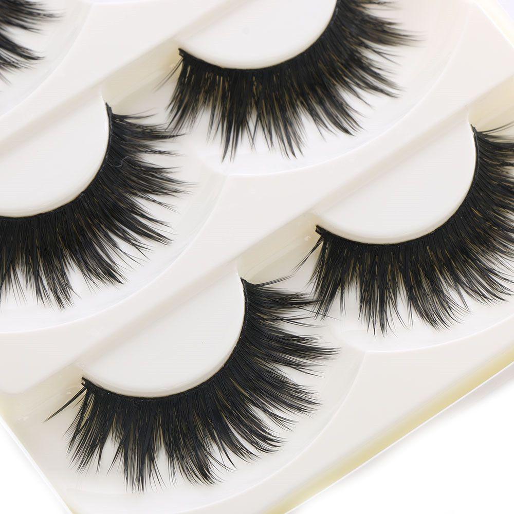 341b8438d50 5 Pairs Soft Long Makeup Cross Thick False Eyelashes Natural Handmade Eye  Lashes Extension Make Up