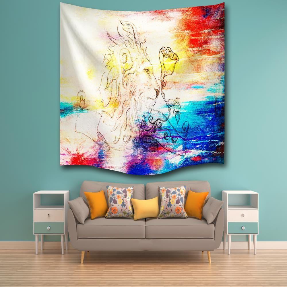 multicolore w153cmxl102cm aquarelle lion 3d impression num rique maison tenture murale nature. Black Bedroom Furniture Sets. Home Design Ideas