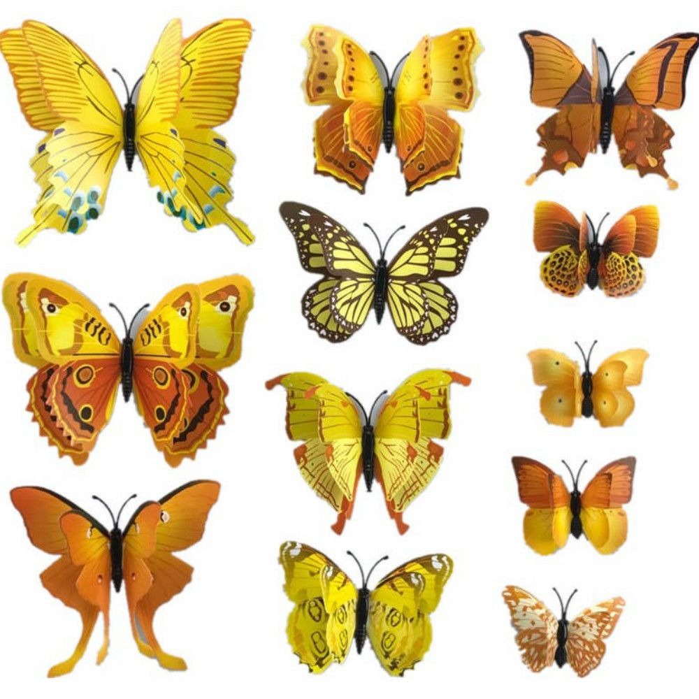 White 12pcs/set Double Layer Wing Butterfly Sticker Diy 3d Sticking ...