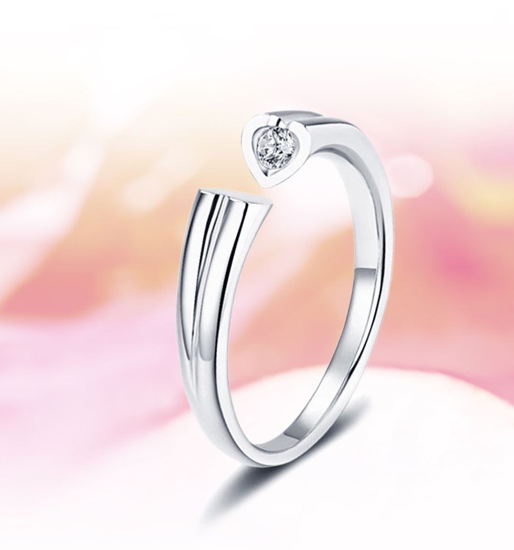 Silver Us Size 9 Zircon Plated Rhodium Adjustable Heart Couple Ring ...