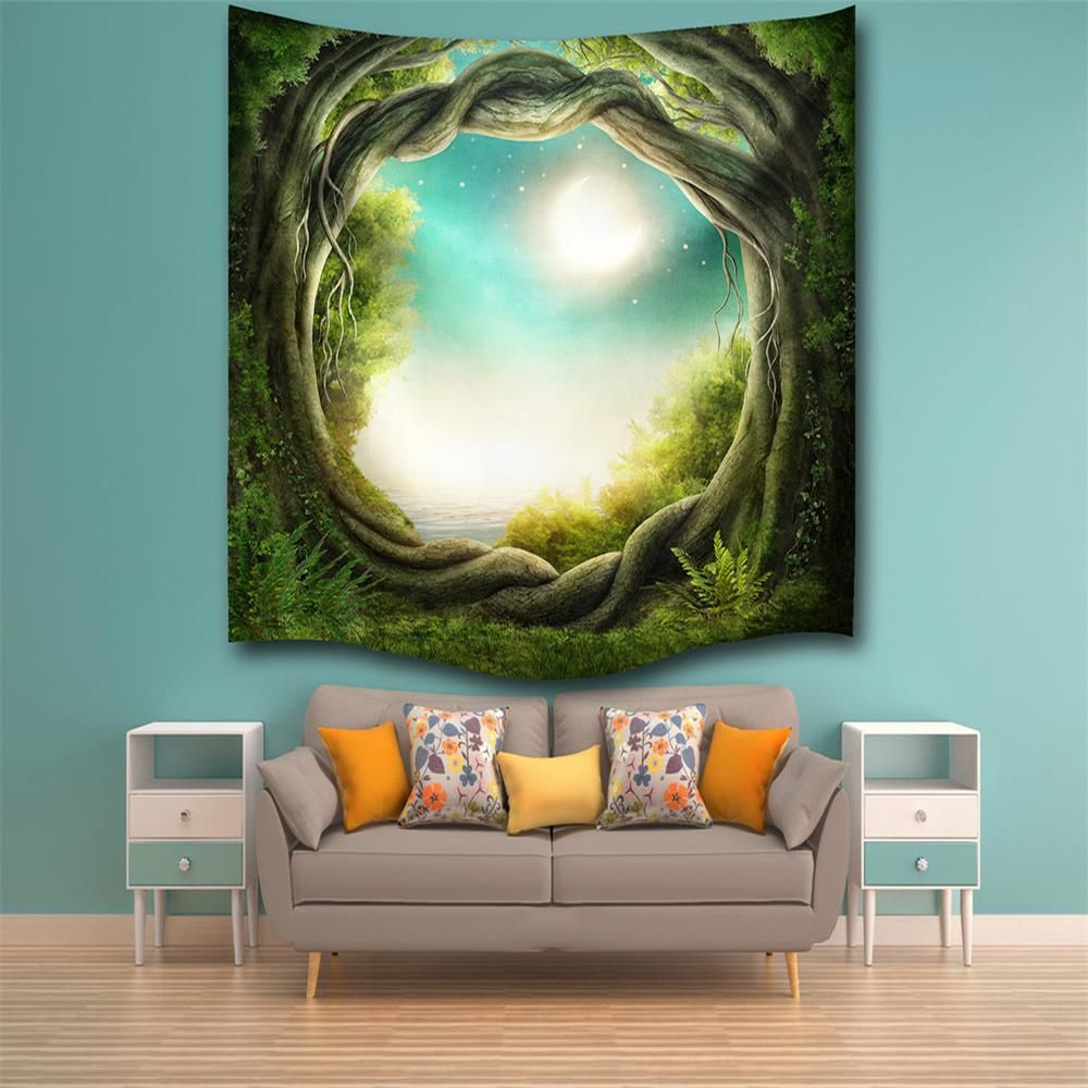 Fantasy Forest 3D Digital Printing Home Wall Hanging Nature Art Fabric  Tapestry For Bedroom Living Room