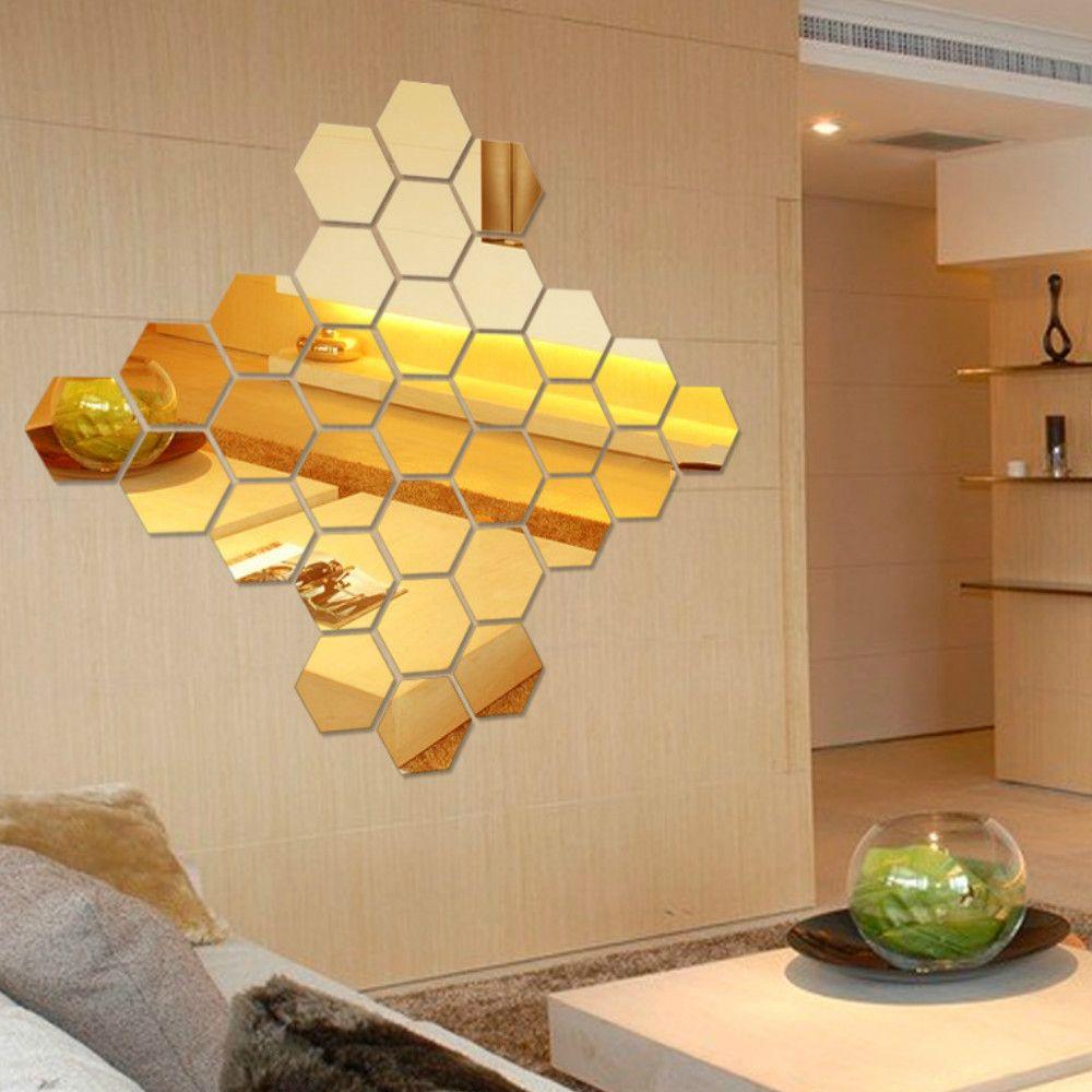 Golden 12 Pcs/set Hexagon Mirror Diy Art Wall Home Decor Living Room ...