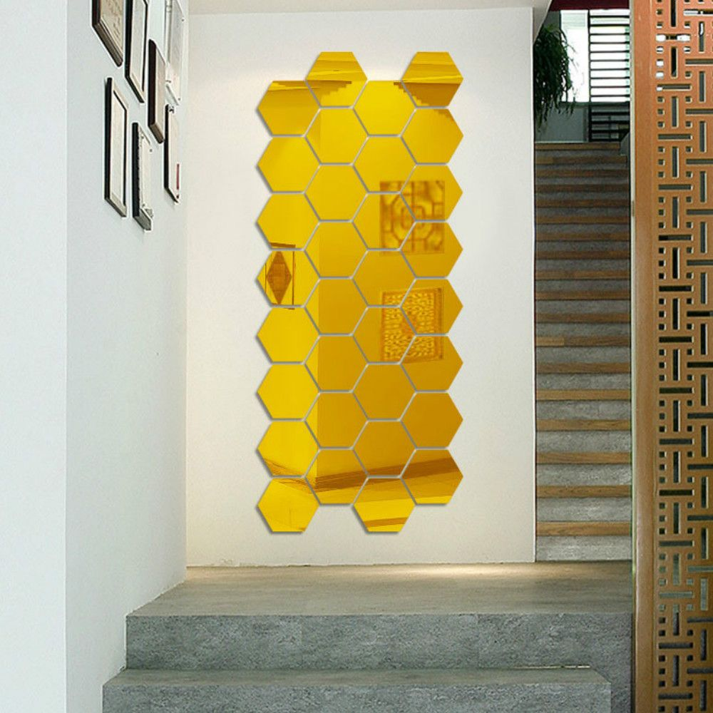 Blue 12 Pcs/set Hexagon Mirror Diy Art Wall Home Decor Living Room ...