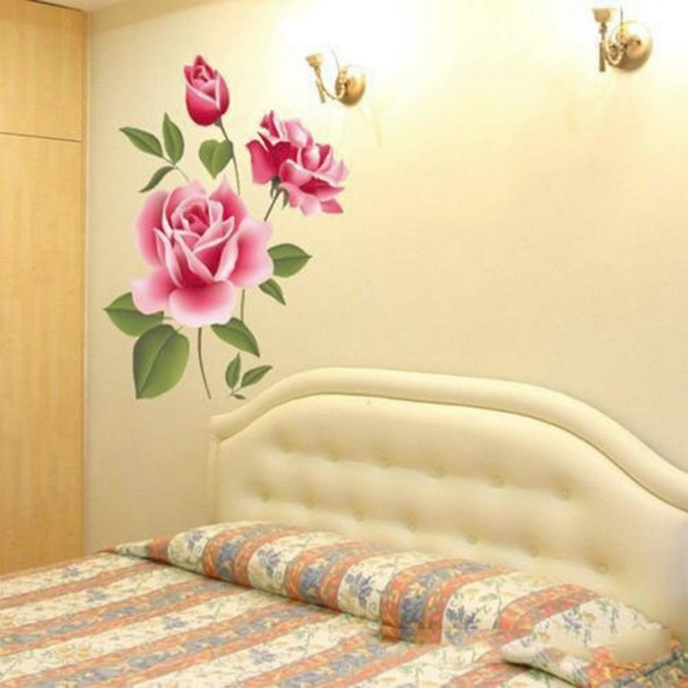 White 3d Rose Flower Romantic Love Wall Sticker Removable Decal ...