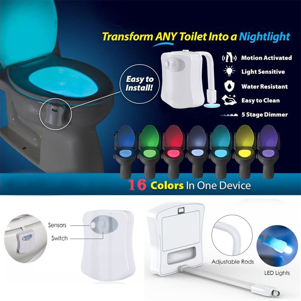 2018 16 Color Led Motion Sensing Automatic Bathroom Toilet Night Light Activated Switch Lamp
