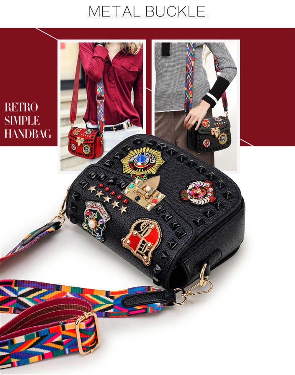 bff17dcda13 Fashion Rivet Embroidery Women Messenger Bags Brands Designer Flap Bag