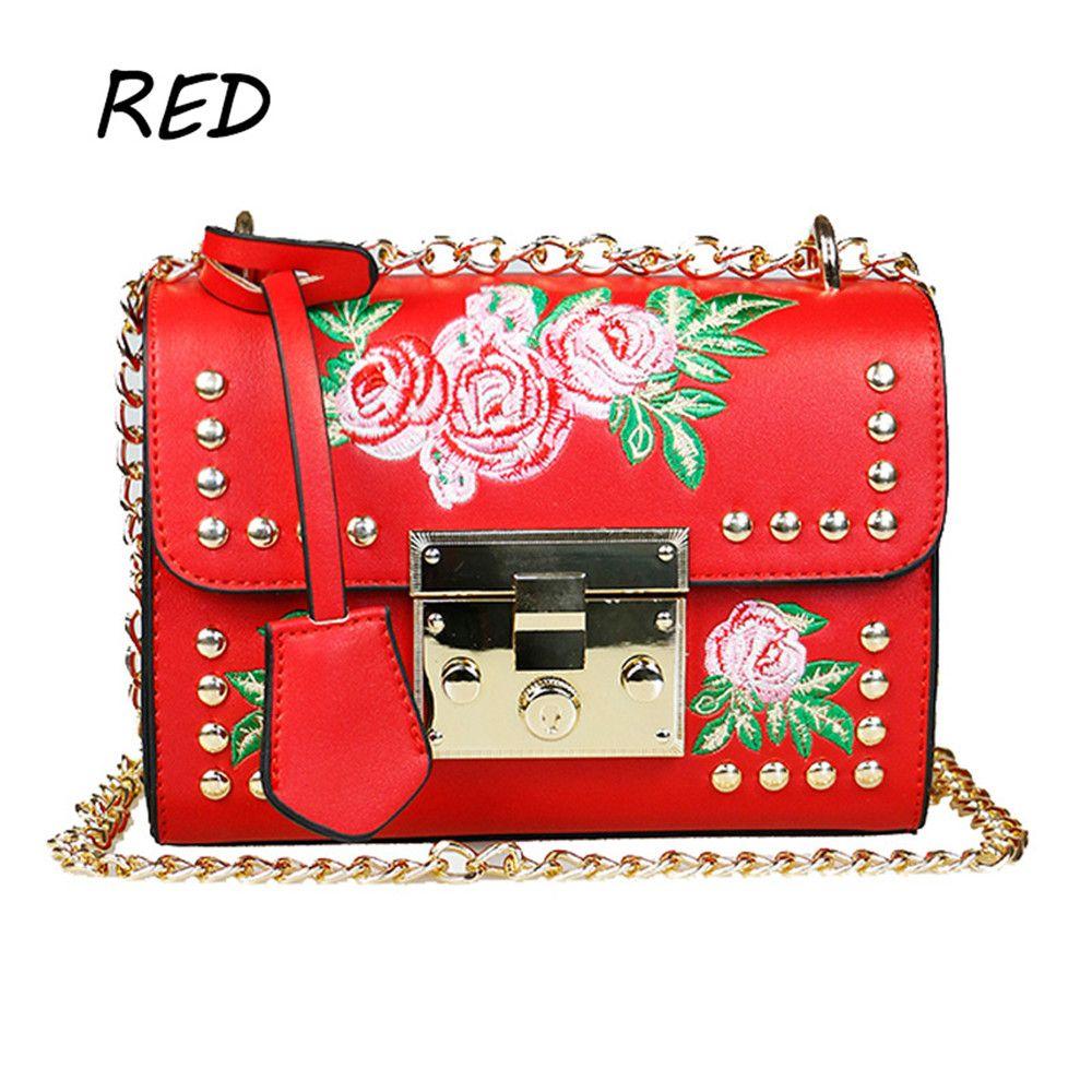 0cb483fe6d Women Embroidery Flower Shoulder Bag Designer PU Leather Fashion Ladies  Rivet Messenger Bags