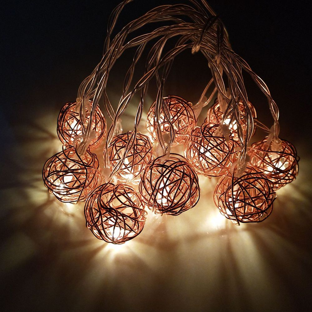 2019 rose gold iron wire ball string lights fairy led home. Black Bedroom Furniture Sets. Home Design Ideas