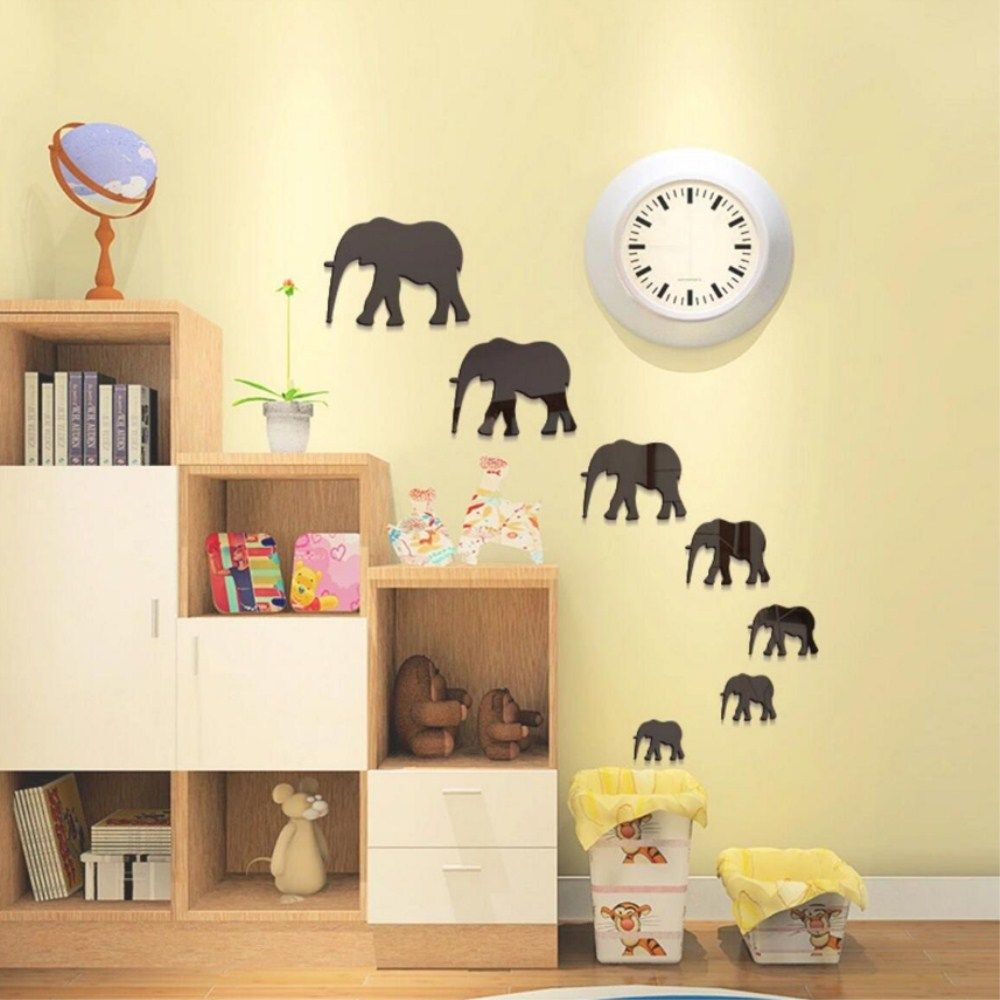 Silver Cartoon Elephant Background Decorative Mirror Removable Wall ...
