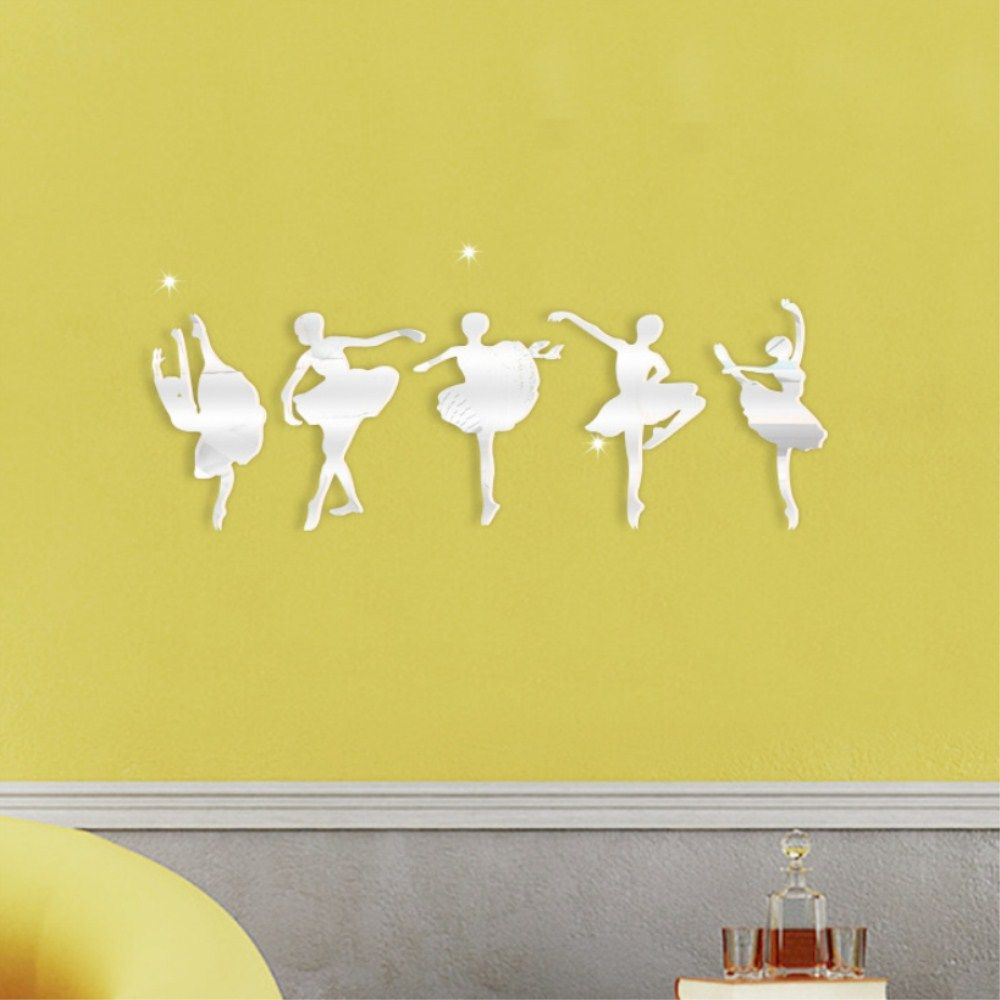 Black New Dance Ballet Girl Mirror Decorative Wall Stickers ...