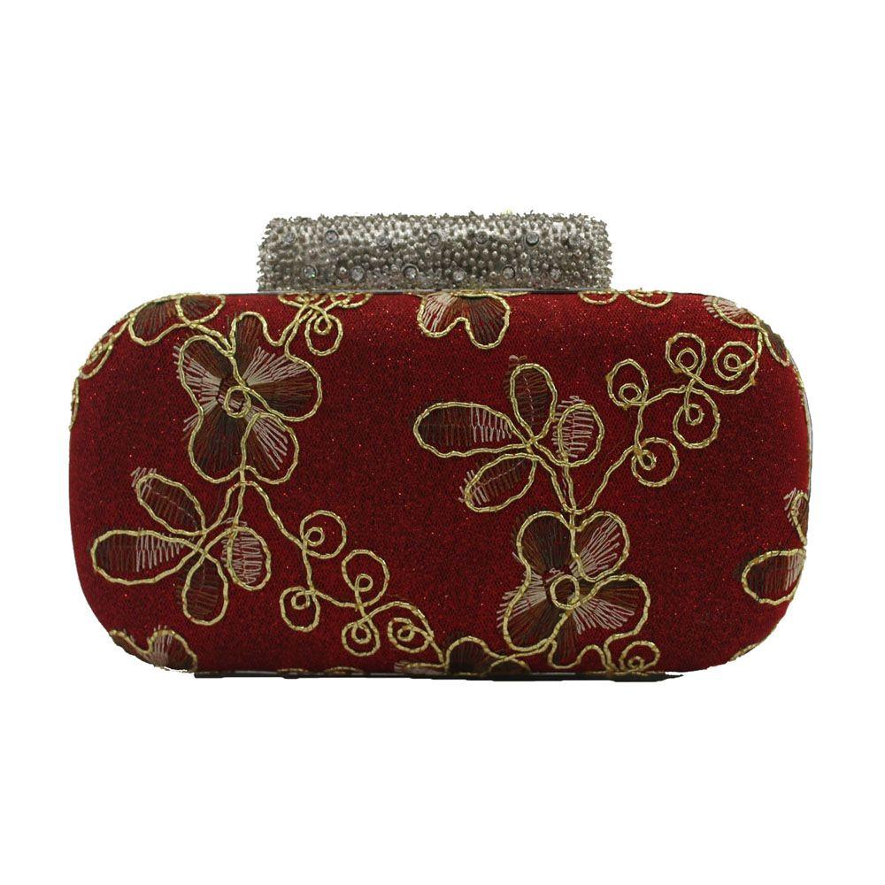 f128d448fc Evening Women Clutch Embroidering Wedding Bridal Handbag Lace Rose Fashion  Rhinestone Bag