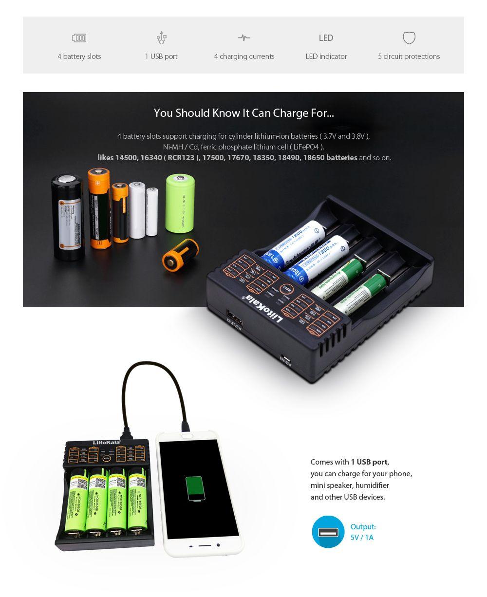 LiitoKala Lii - 402 Battery Charger for Li-ion / 18650 / 18490 / 18350 / 17670 / 17500 / 16340 ( RCR123 ) / 14500 / 10440