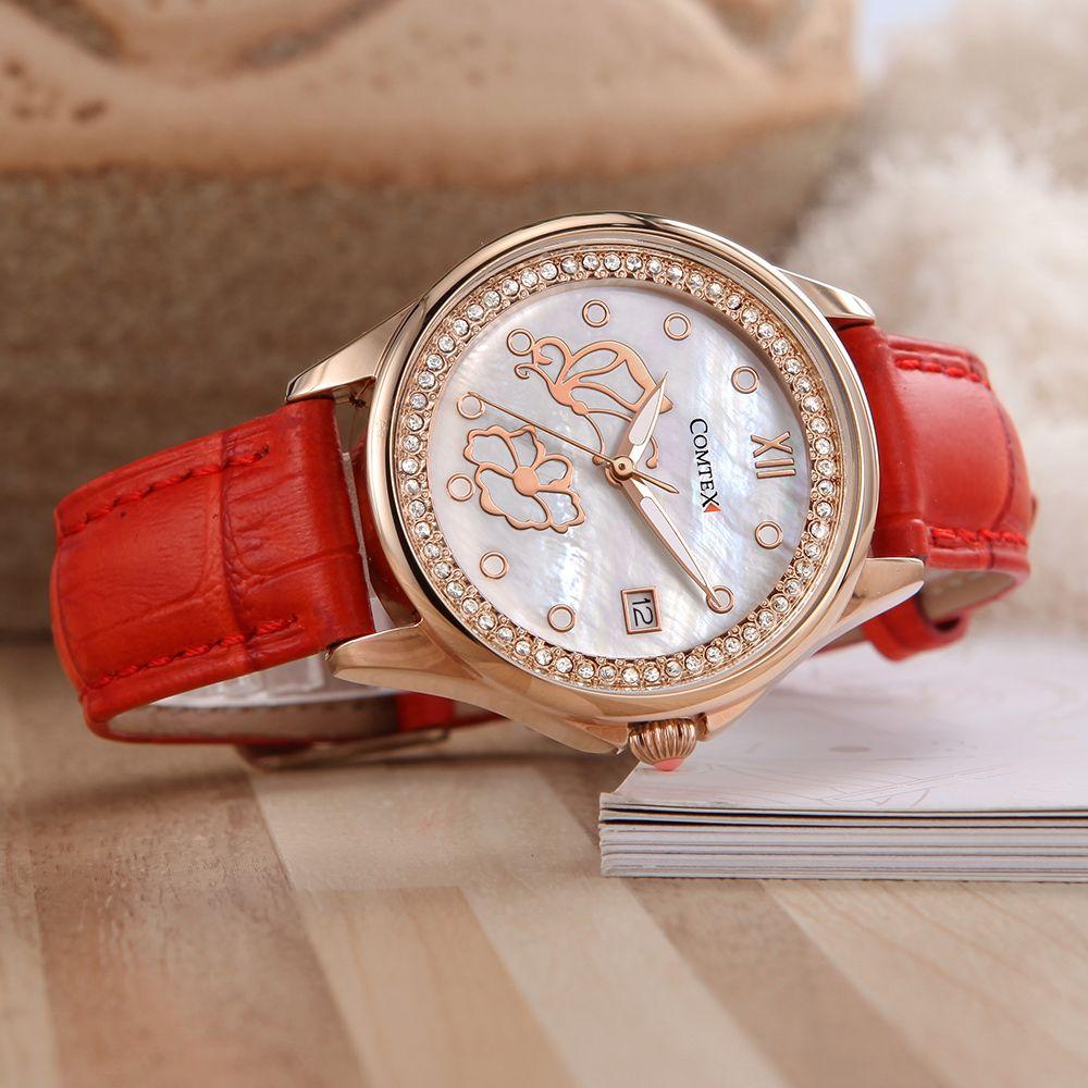 1ce457101 Comtex SYL140063-1 Fashion Ladies Watch Red Leather Band Quartz Watch