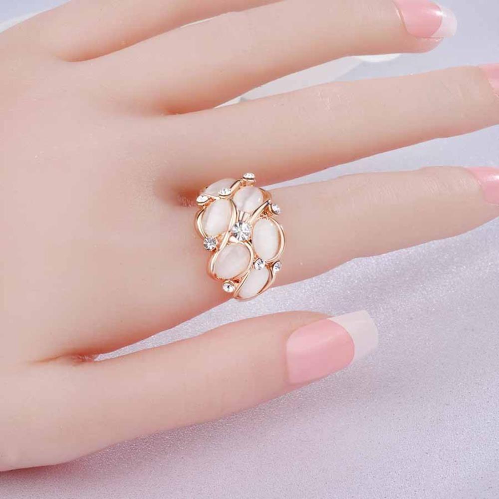 White Us Size 10 Fashion Cat Eye Diamond Ring   RoseGal.com