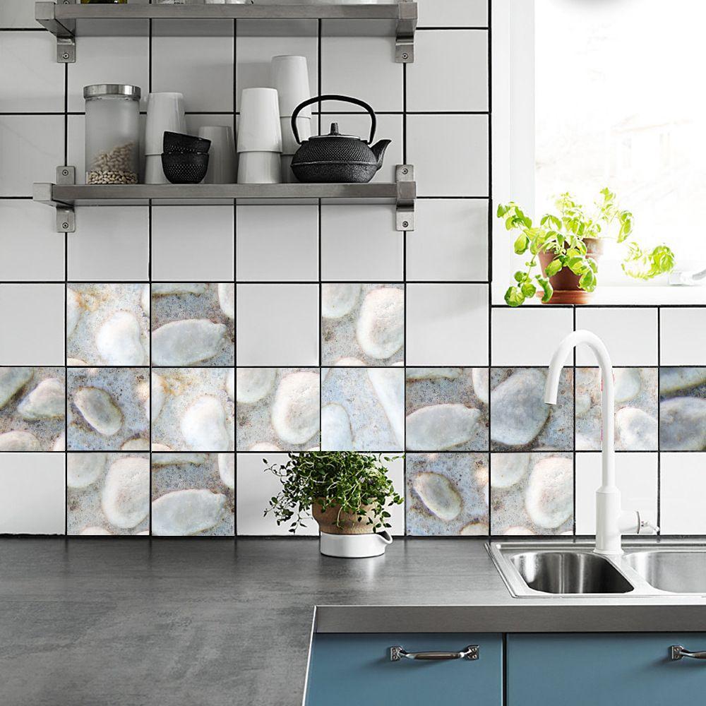 Multi 15cm X 15cm 3d Gobblestone Shape Tile Sticker Home Decoration ...