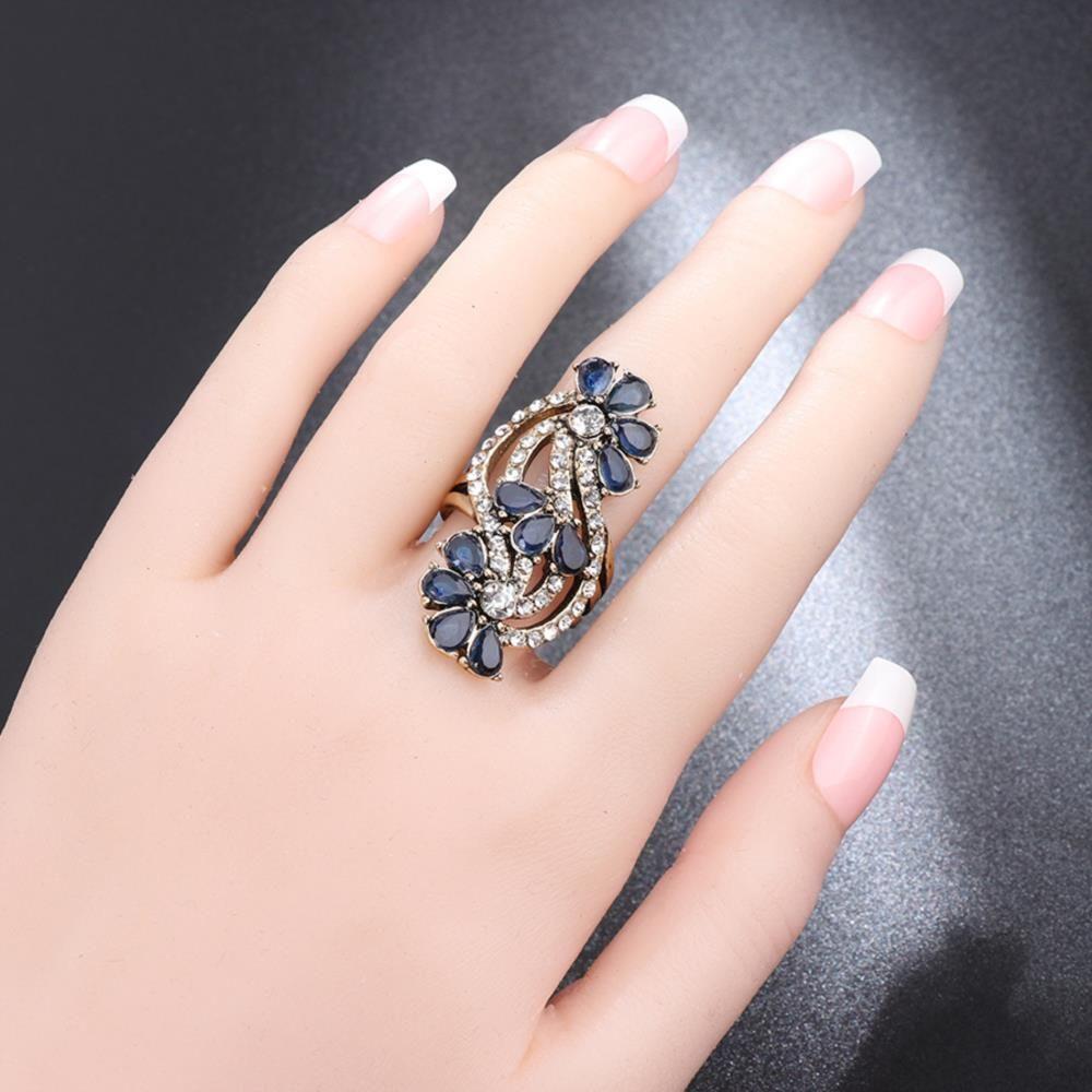 Orange Gold Us Size 7 Artificial Diamond Flower Blue Crystal Ring ...