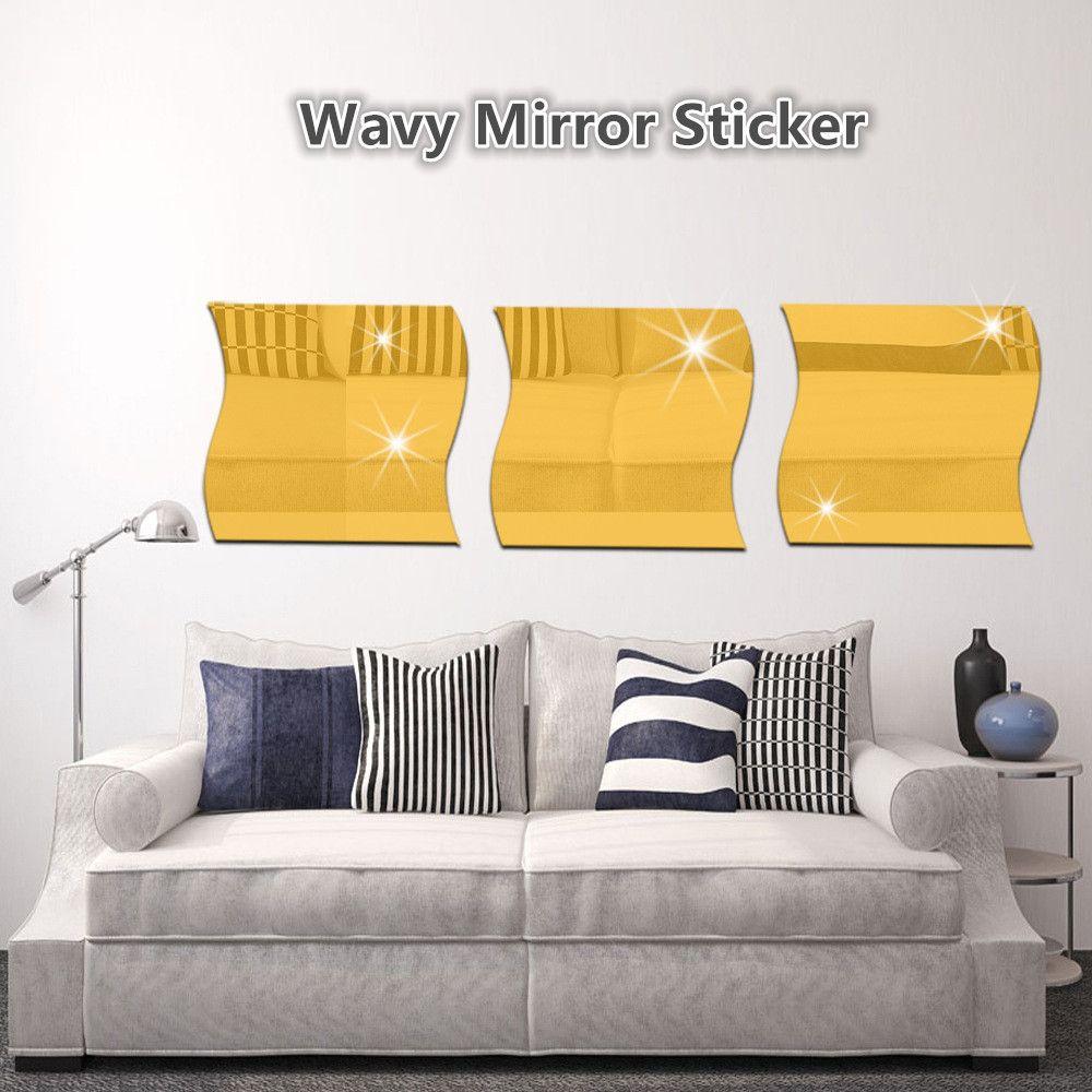 Cool White 28cm X 27cm Wavy Mirror Sticker For Living Room Diy Home ...