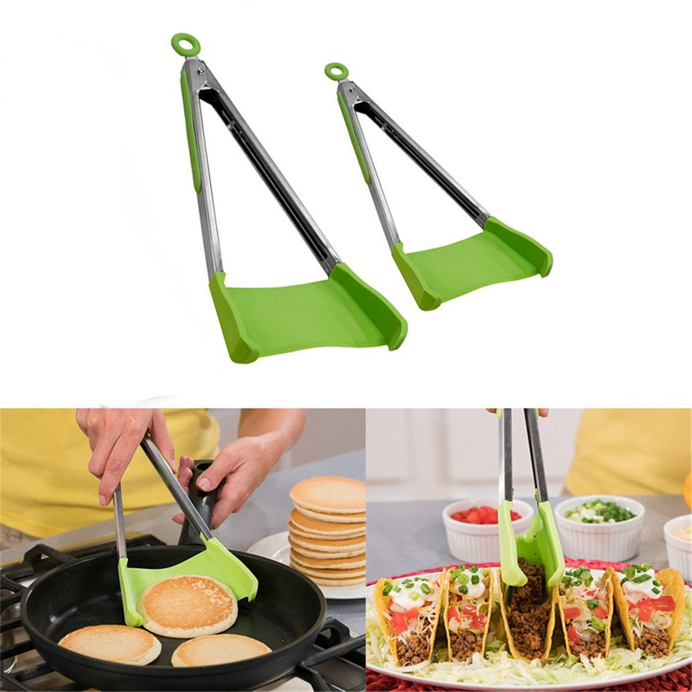 Green Set Clever Tongs Kitchen Spatula And Tong Non Stick Heat ...