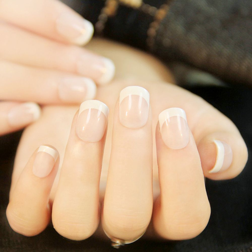 Warm White 24pcs Natural French Short Nails Classical | RoseGal.com