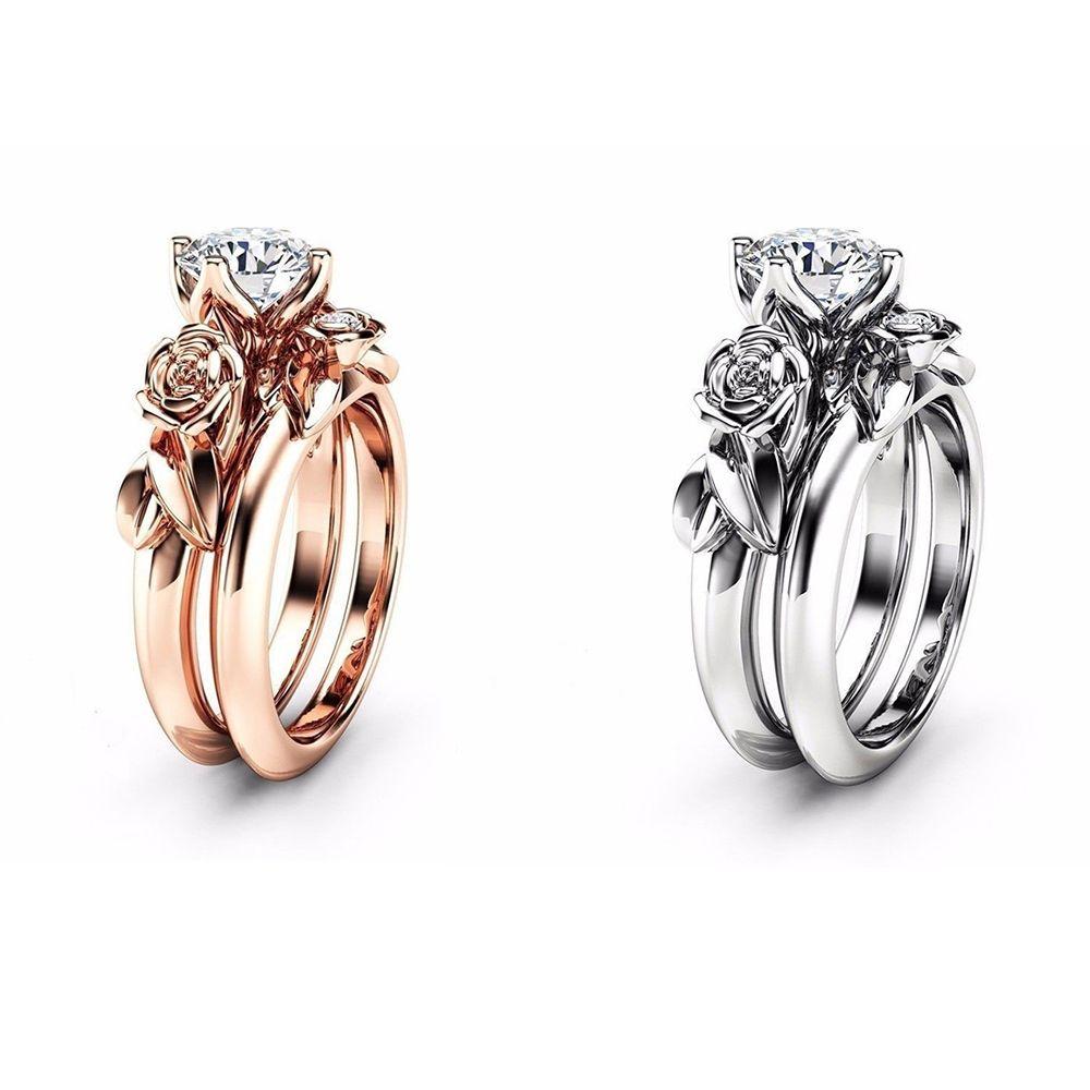 f30ebffaba37 2019 Rose Flower Diamond Couple Rings