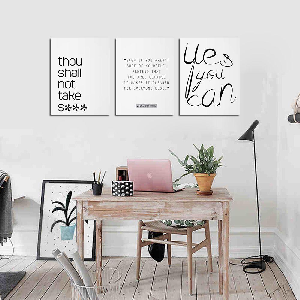 Là Cadre Toile Fond Mur Simple Anglais Lettre Décorative Impression 3 Pcs