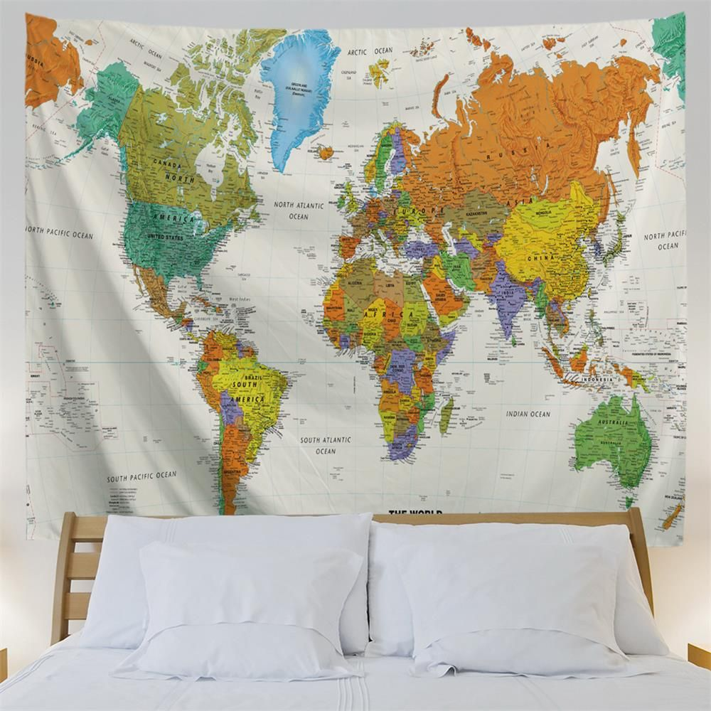 55% OFF] Colorful World Map 3D Printing Home Wall Hanging Tapestry ...