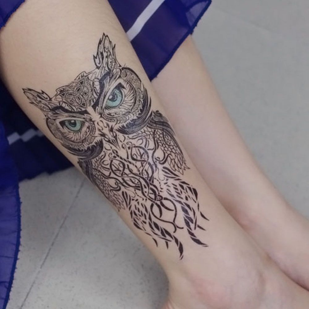 39% OFF] Owl Pattern Durable Waterproof Non-toxic Temporary Tattoo ...