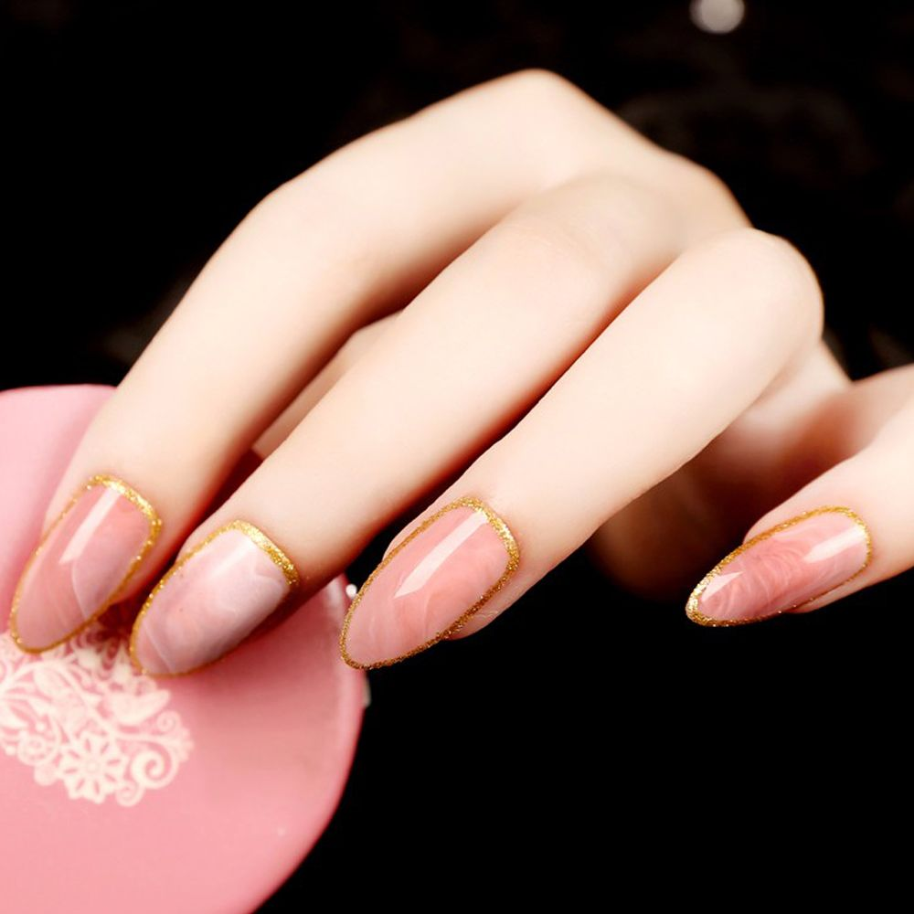 Pink 24pcs Pink Stone Texture Oval Shape Full Cover Artificial Nails ...