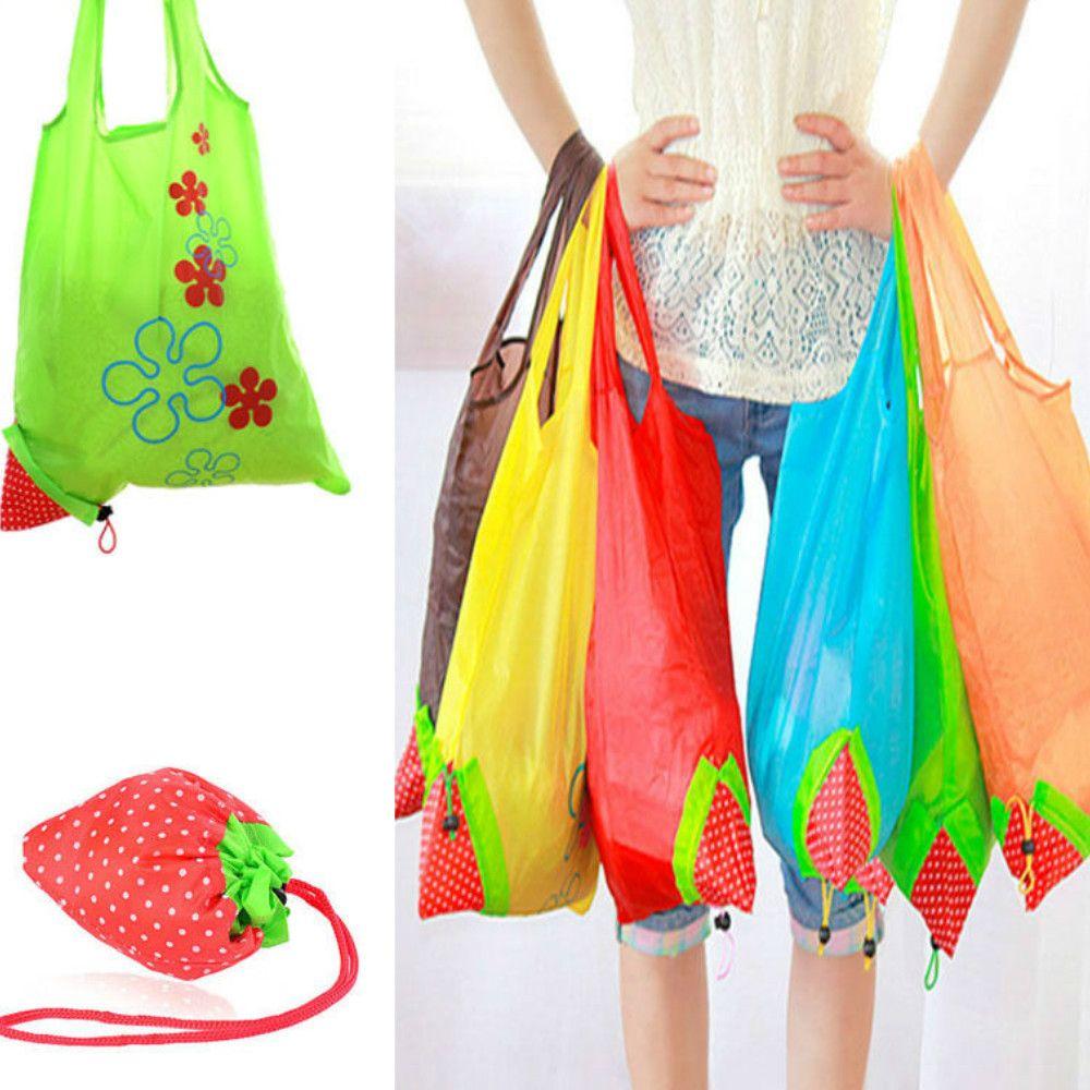 32e345020 Creative Environmental Storage Handbag Strawberry Foldable Shopping Bag