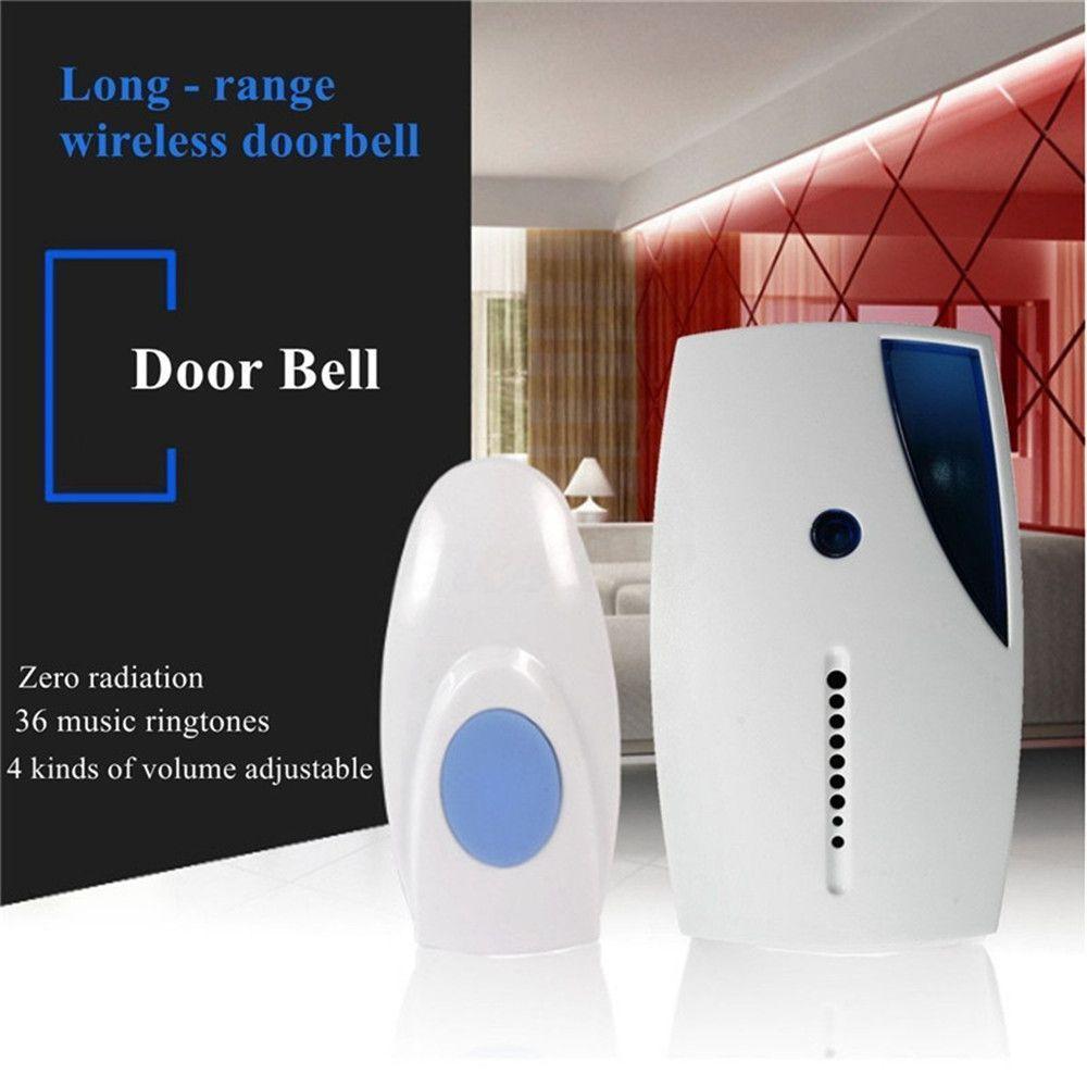 Wireless Door Bell Battery Operated Cordless Digital Doorbell 36 Chime 20M Range