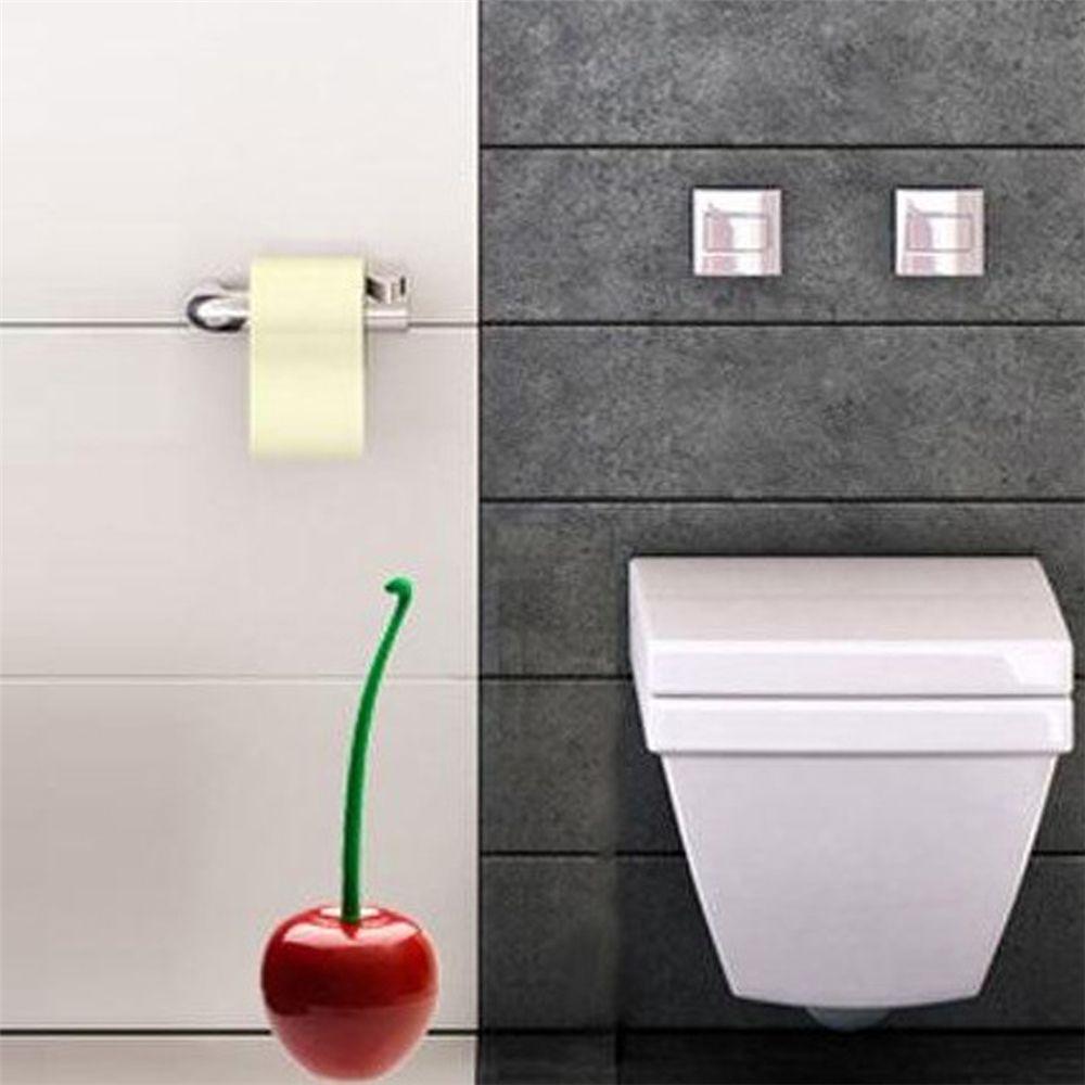 Red Creative Lovely Cherry Shape Lavatory Toilet Brush Holder Set ...