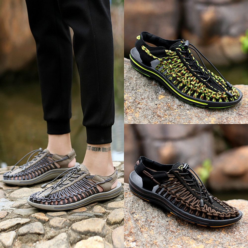 91473e641f2b Summer Men s Shoes Hand-woven Leather Casual Sandals Sand Sneakers Wading