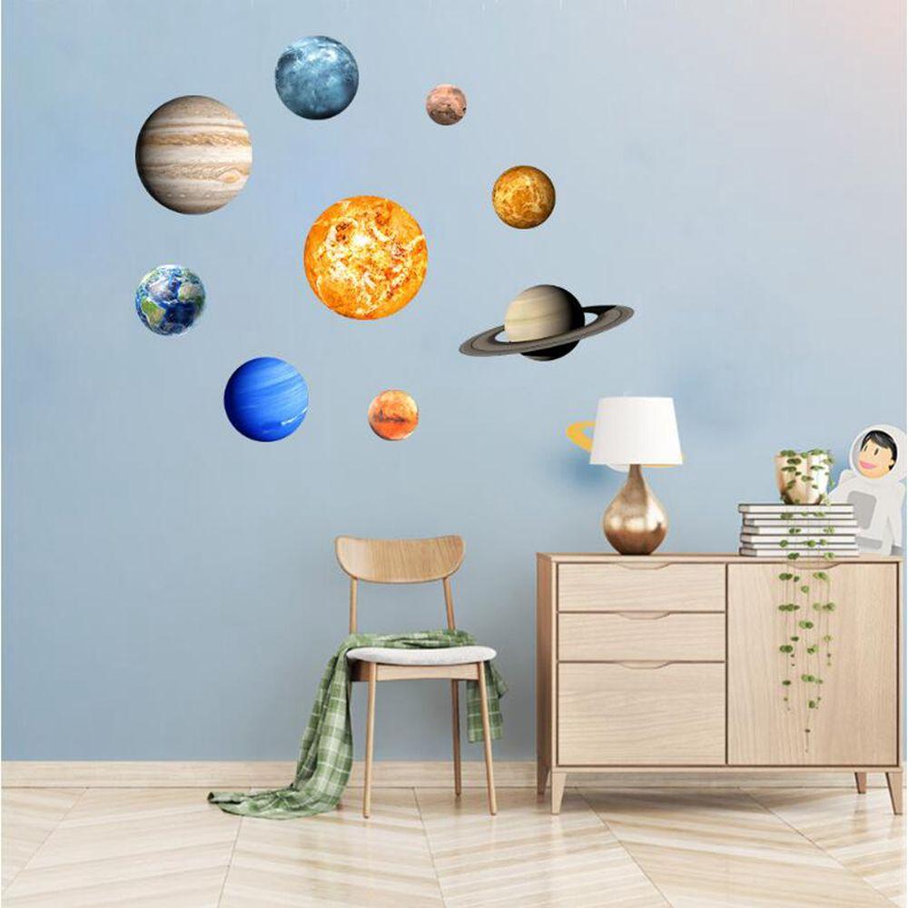 Luminous 3D Nine Planets Glowing In The Dark Wall Stickers Kids Room Sticker