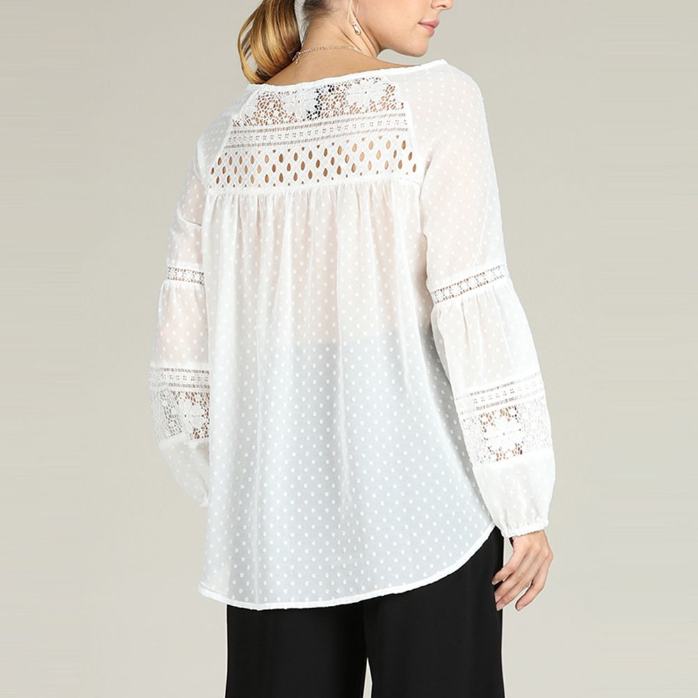 77a174f9706f6 SBETRO White Chiffon Blouse Polka Dot Sheer Shirt with Tie Bohemian Top