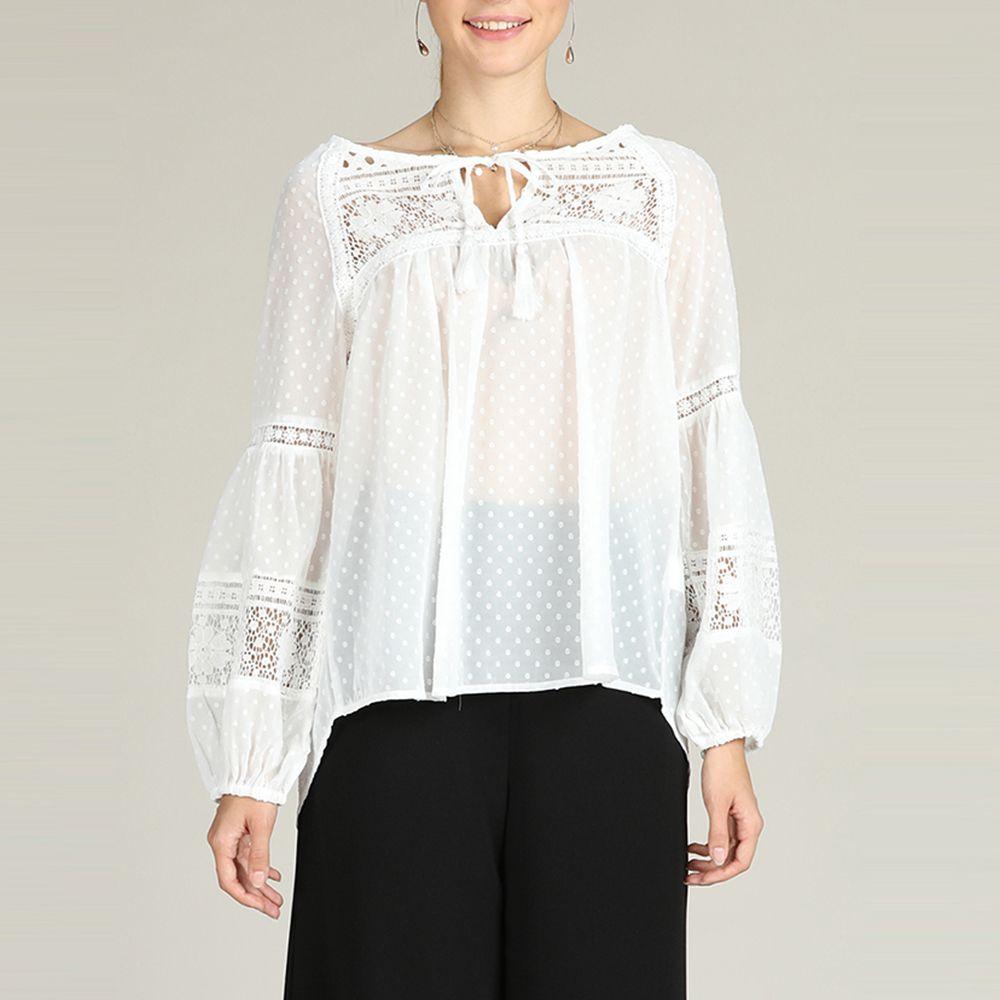 63ea8abce9c4a SBETRO White Chiffon Blouse Polka Dot Sheer Shirt with Tie Bohemian Top - S