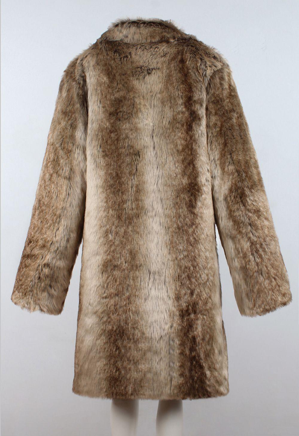 f2271debabd76 45% OFF] Men Faux Fur Coat Gradient Long Sleeve Oversized Collar ...